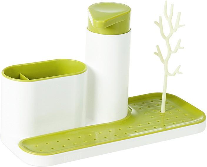 View Shopo Sink Drain Sponge Brush Cleaning Cloth Holder With Soap Dispenser Plastic Wall Shelf(Number of Shelves - 1) Furniture (Shopo)
