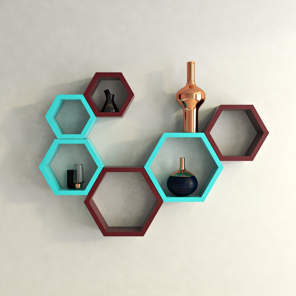 View DecorNation Hexagon Shape MDF Wall Shelf(Number of Shelves - 6, Multicolor) Furniture (DecorNation)