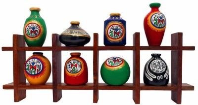 Indikala Wall Décor Frame with Eight Elegant Warli Painted Pots Wooden, Earthenware Wall Shelf