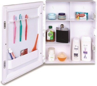 Polytuf Multi Utility Mirror Cabinet Plastic Wall Shelf