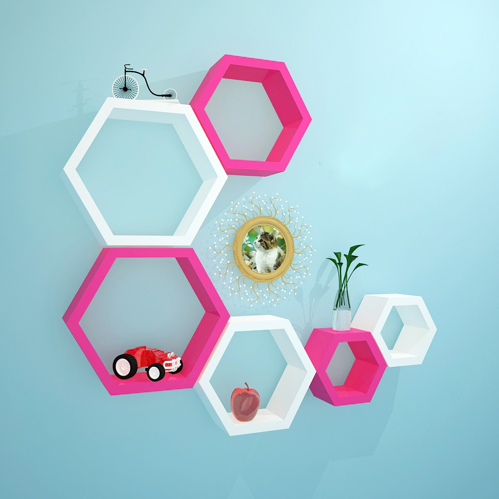 View Decoration Shop MDF Wall Shelf(Number of Shelves - 6, White, Pink) Furniture (Decoration Shop)