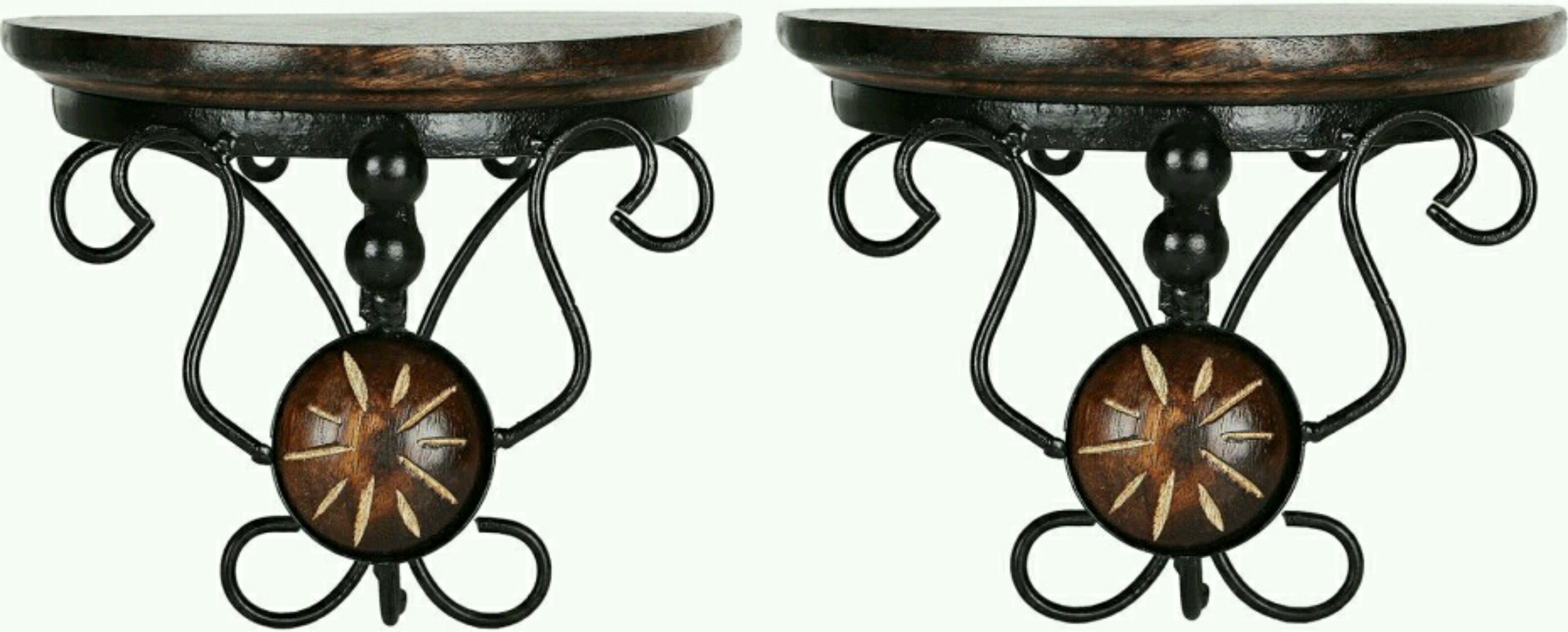 View OnlinePurchas Iron Wood Wooden Wall Shelf(Number of Shelves - 2) Furniture (OnlinePurchas)