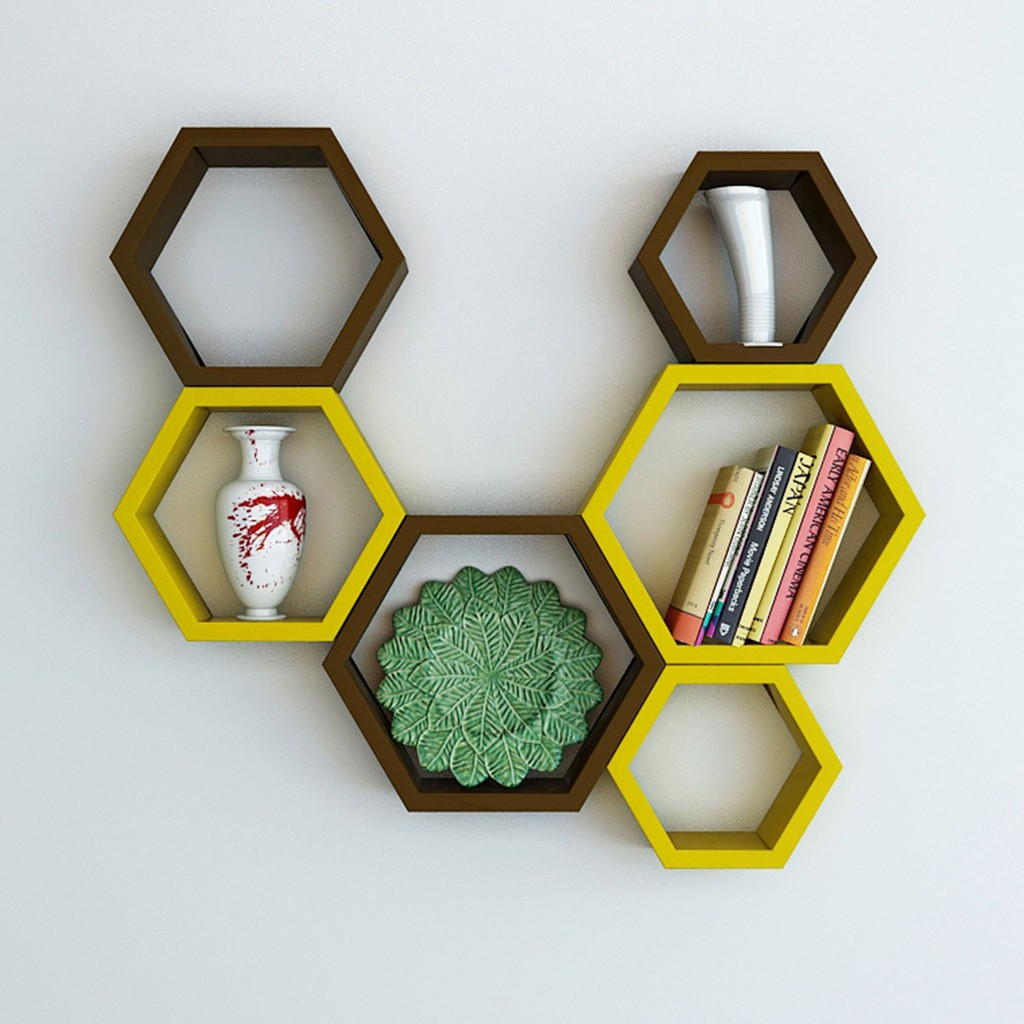 View DecorNation Hexagon Shape MDF Wall Shelf(Number of Shelves - 6, Brown, Yellow) Furniture (DecorNation)