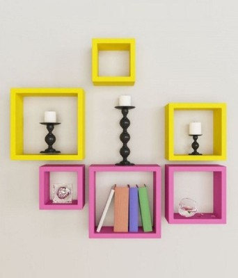 Home Sparkle Set of 3 Cubes Wall Shelves MDF Wall Shelf