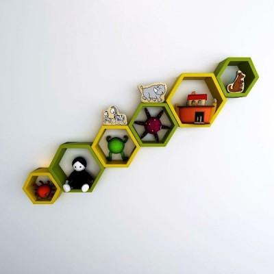 Ganeshaas Gphxd020yg Yellow N Green Beehive Hexagon Floating MDF Wall Shelf