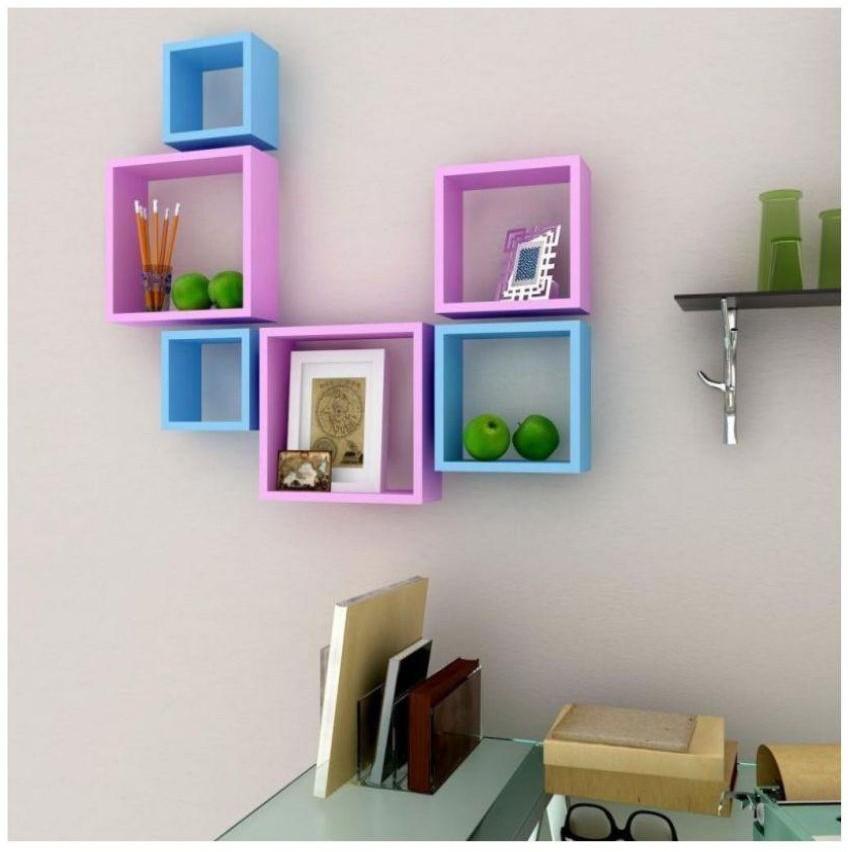 View hzuain handicrafts 6 WALL SHELF Wooden Wall Shelf(Number of Shelves - 6, Blue, Pink) Furniture (hzuain handicrafts)