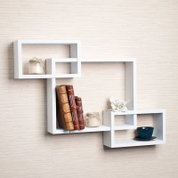 DriftingWood Intersecting Wooden Wall Shelf(Number of Shelves - 3, White)