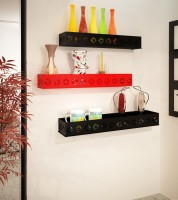 Home Sparkle MDF Wall Shelf(Black, Red)