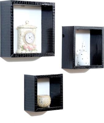 Importwala Black Crocco Leatherite (PU) wall shelves - Set of 3 MDF Wall Shelf