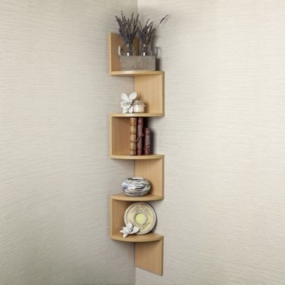 ENCORE DECOR Corner Zigzag - Bavarian Beech MDF Wall Shelf(Number of Shelves - 5, Yellow)