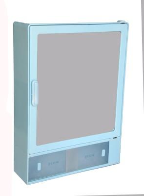 Zoom Zoom Good Morning Bathroom Mirror Cabinet (Sliding) Plastic Mirror Storage Chest (40.64 x 10.6 x 30.48, White, Blue, Ivory, Z101CSL) (BLUE) Plastic Wall Shelf(Number of Shelves - 1, Blue)