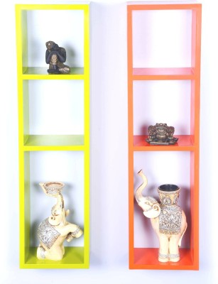 Dcjc Dcjc Ladder Shelf Multicolour Set Of 2 MDF Wall Shelf