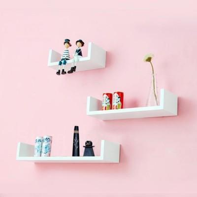 DecorNation U Shape Wooden Wall Shelf