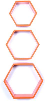 Dcjc Dcjc Hexagon Shelf Orange - Set Of 3 MDF Wall Shelf