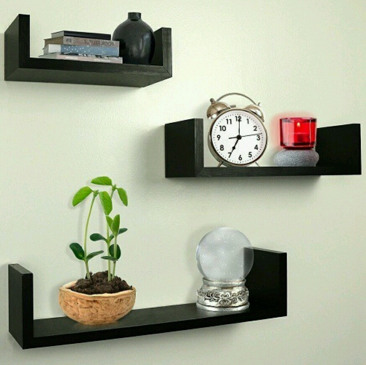 View Martcrown U wall shelf MDF Wall Shelf(Number of Shelves - 3, Black) Furniture (Martcrown)
