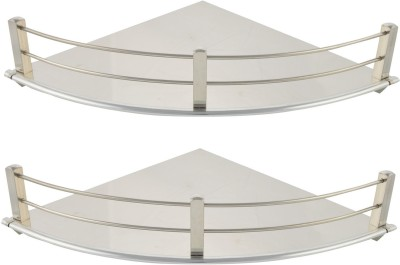Dolphy Set Of 2 Corner-9x9 Inch Stainless Steel Wall Shelf