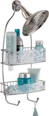 Interdesign Pebblz Bathroom Shower Caddy for Shampoo, Conditioner, Soap - Clear/Silver Steel Wall Shelf