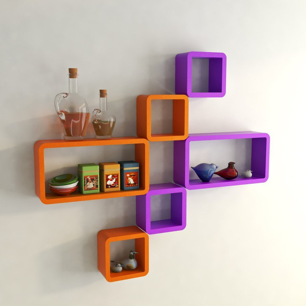 View Choice Cloud Wooden Wall Shelf(Number of Shelves - 6, Purple) Furniture (Choice Cloud)