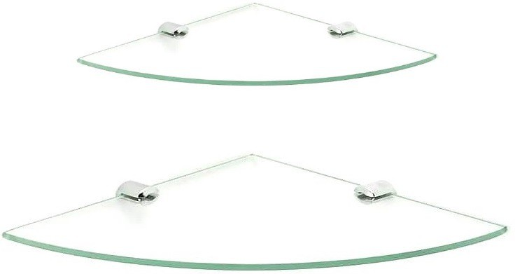 View royaL indian craft Brass Bracket Double Corner Glass Wall Shelf(Number of Shelves - 2, Clear) Price Online(royaL indian craft)