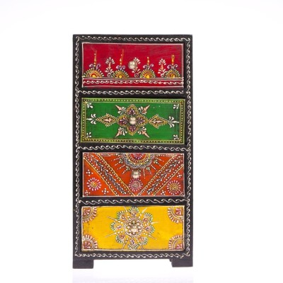 Khushal Rajasthani art worked Dryfruit/candies/jewellery/other utility box Wooden Wall Shelf