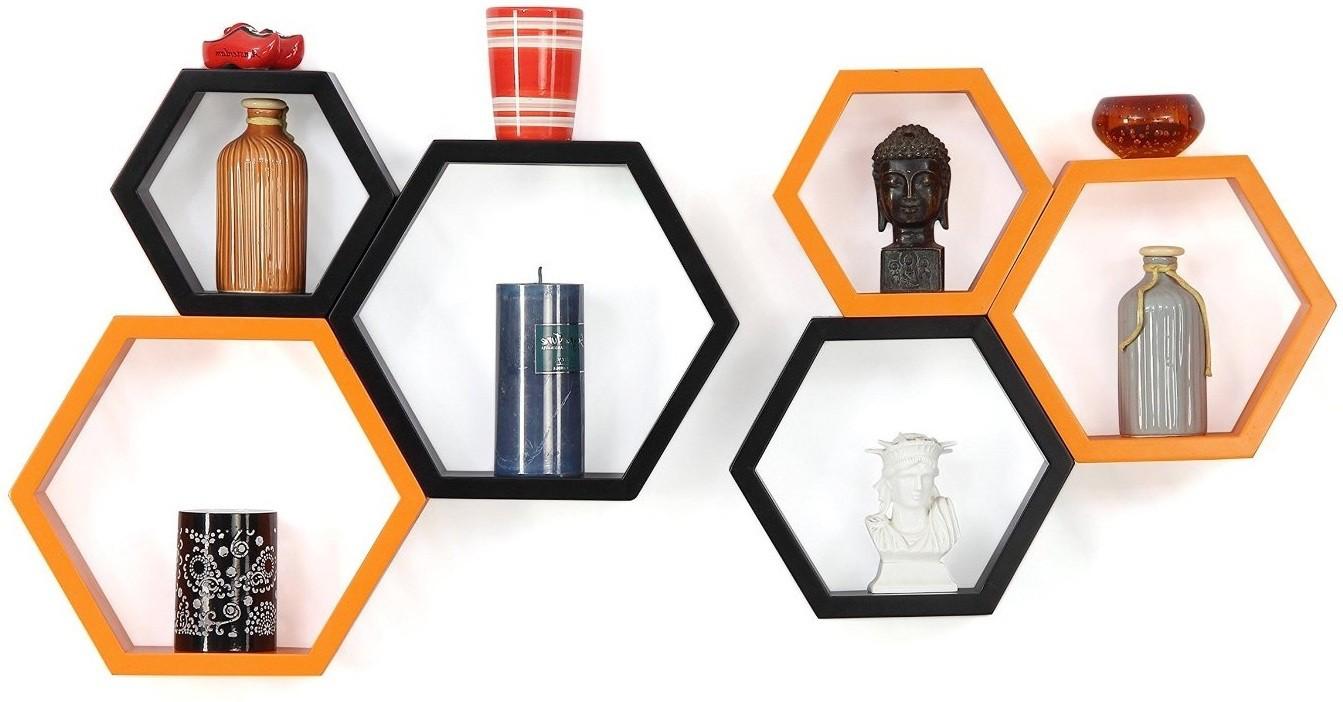 View Custom Decor Hexagon Wooden Wall Shelf(Number of Shelves - 6, Black, Orange) Furniture (Custom Decor)