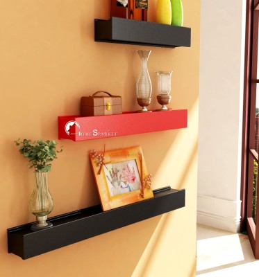 Home Sparkle Rail Joint Shaped Wooden Wall Shelf