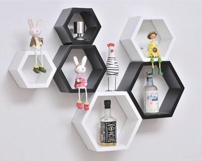 ENCORE DECOR Hexagon MDF Wall Shelf(Number of Shelves - 6, White, Black)