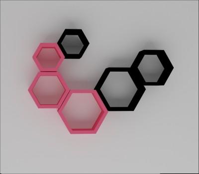 Wallz Art Hexagon Shape MDF Wall Shelf