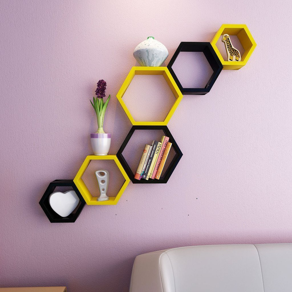 View Encore Decor MDF Wall Shelf(Number of Shelves - 6, Yellow, Black) Furniture (Encore Decor)