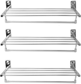 Handy 2ft long Towel Rack pac of 3pcs Stainless Steel Wall Shelf(Number of Shelves - 5)