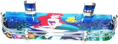 royaL indian craft 18 By 5 Inch Dream Aqua Printed Glass Wall Shelf