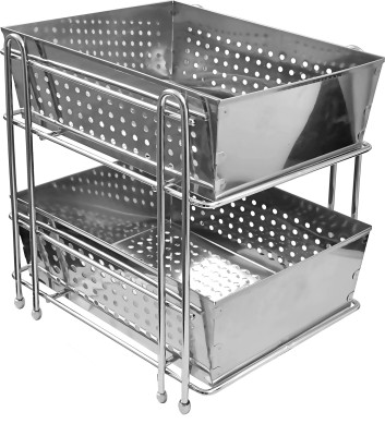Klaxon Stainless Steel Wall Shelf(Number of Shelves - 2, Silver)