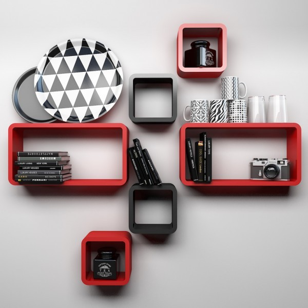 View Usha Furniture Wooden Wall Shelf(Number of Shelves - 6, Red, Black) Furniture (Usha Furniture)