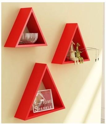 Onlineshoppee Premium Solid Wood 3 Triangular Shelves Wooden Wall Shelf