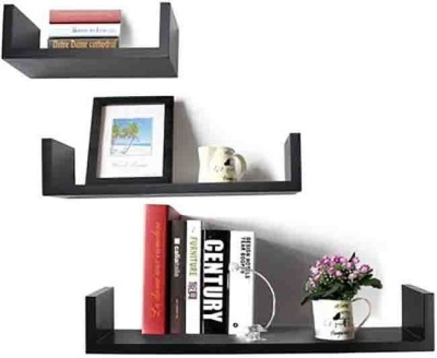 Usha Furniture U Shape Wooden Wall Shelf(Number of Shelves - 3, Black)
