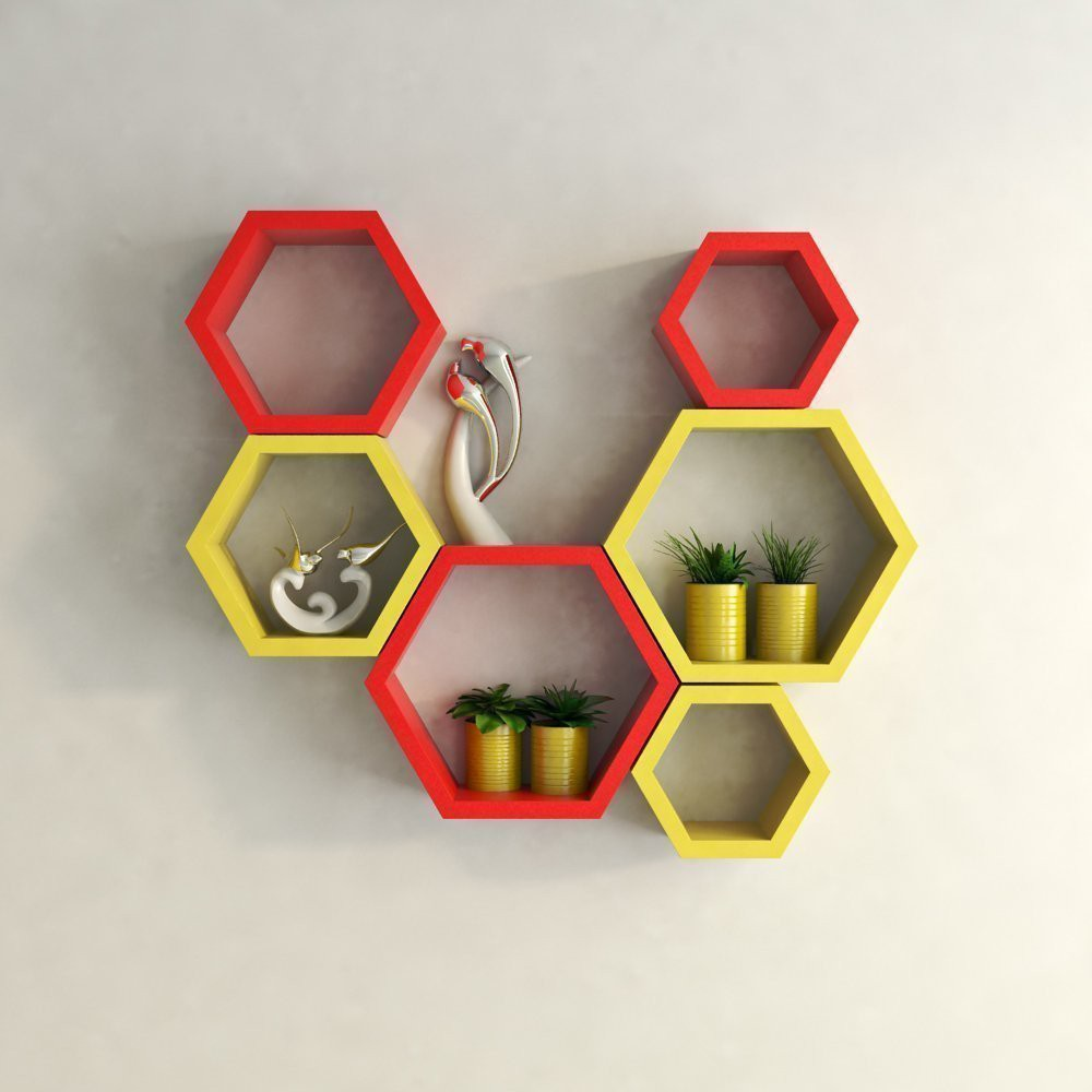 View Encore Decor Hexagon Shape MDF Wall Shelf(Number of Shelves - 6, Red, Yellow) Furniture (Encore Decor)