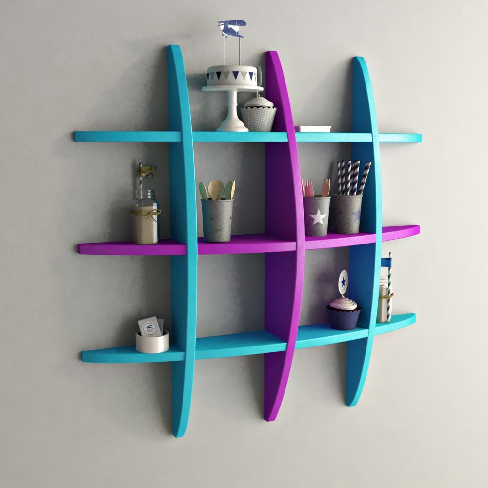 View DecorNation Globe Shape MDF Wall Shelf(Number of Shelves - 12, Blue, Purple) Furniture (DecorNation)