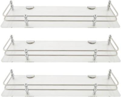 Dolphy Shelf 18x5 Inch-Set Of 3 Microfibre, Stainless Steel Wall Shelf