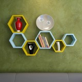 Wallz Art Hexagon Shape MDF Wall Shelf (...