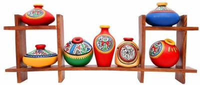 Indikala Wooden Stand with Seven Elegant Terracota Handpainted Pots Wooden, Earthenware Wall Shelf
