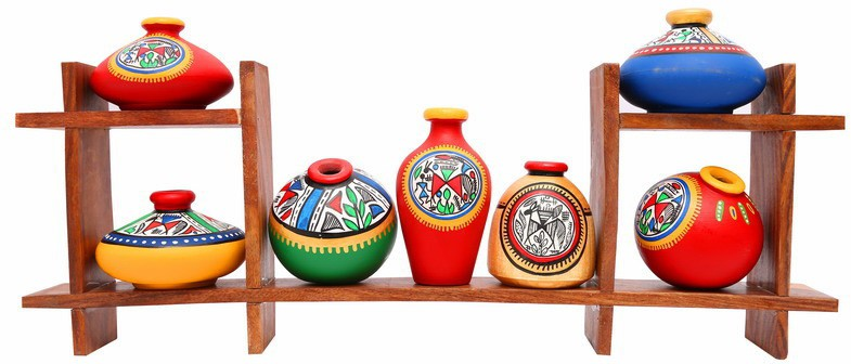 View Indikala Wooden Stand with Seven Elegant Terracota Handpainted Pots Wooden, Earthenware Wall Shelf(Number of Shelves - 2, Multicolor) Price Online(Indikala)