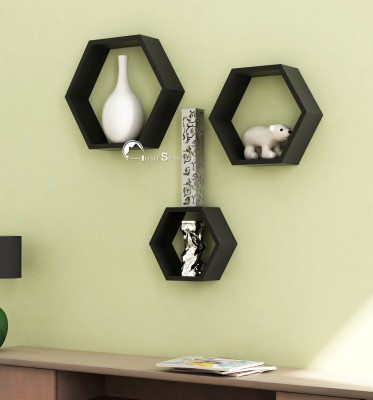 Home Sparkle Hexagonal Wooden Wall Shelf