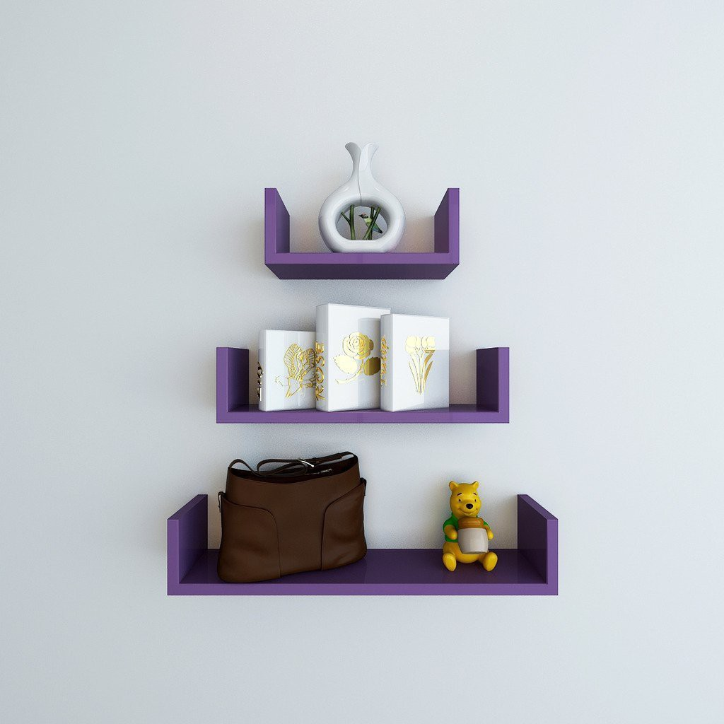 View Choice Cloud Wooden Wall Shelf(Number of Shelves - 3, Purple) Furniture (Choice Cloud)