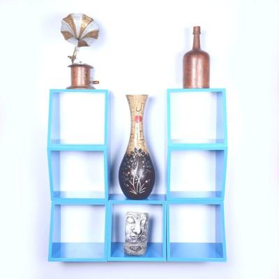 Dcjc Dcjc Multipurpose Square Shelf Blue - Set Of 7 MDF Wall Shelf