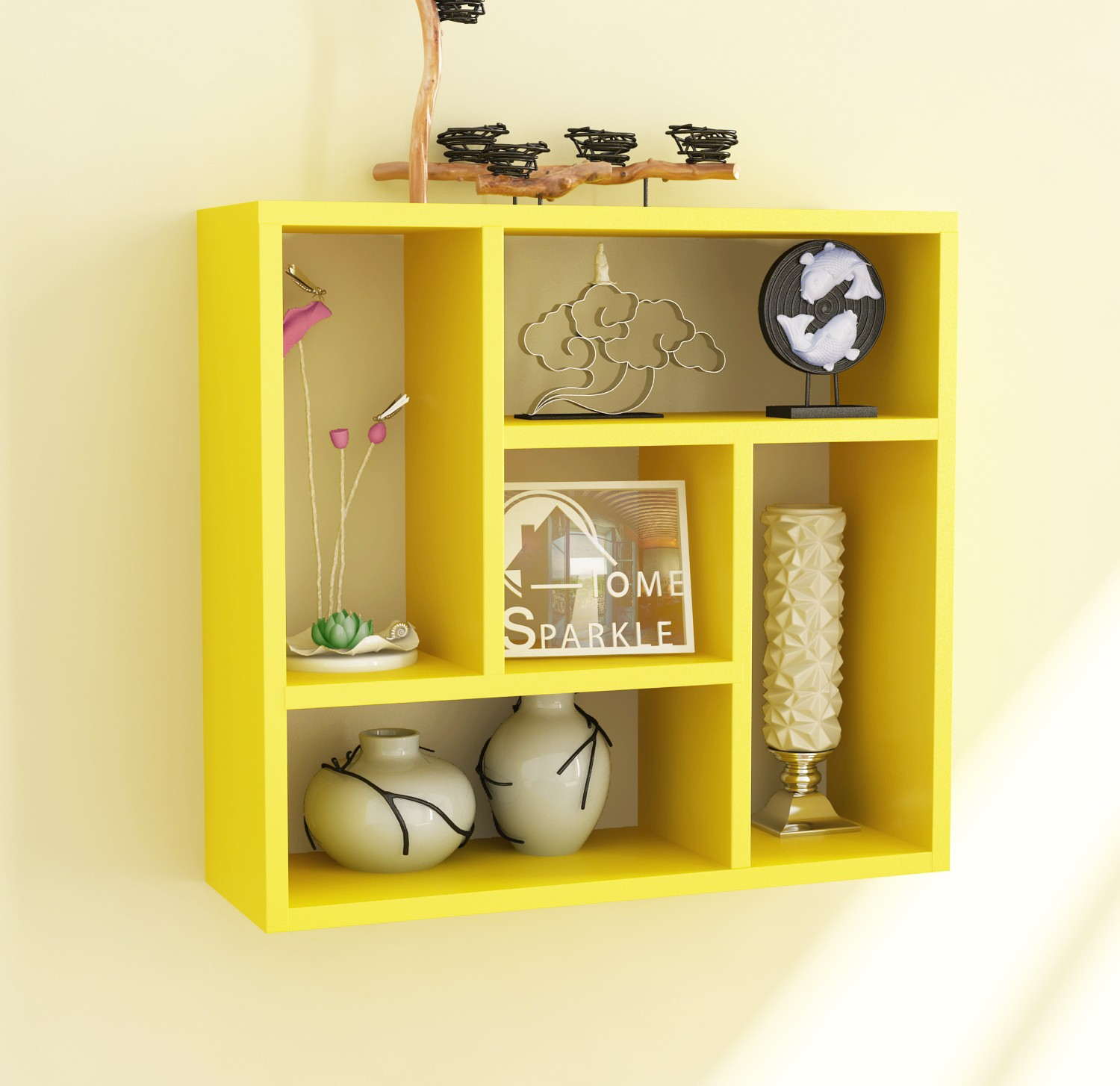 View Home Sparkle Square Partitions MDF Wall Shelf(Number of Shelves - 5, Yellow) Furniture (Home Sparkle)