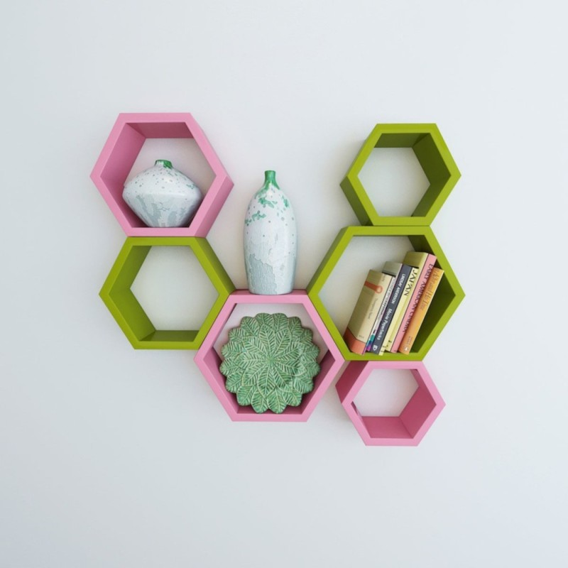 Wallz Art Hexagon Shape MDF Wall Shelf(Number of Shelves - 6, Green)