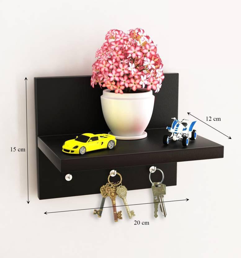View Decorhand 3 Hooks Key holder Wooden Wall Shelf(Number of Shelves - 1, Black) Furniture (Decorhand)