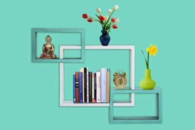 Furniselan interlocking Green & White MDF Wall Shelf