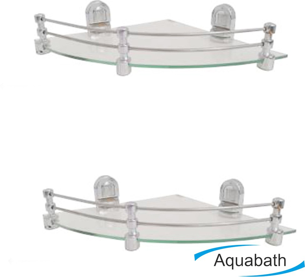 View Aquabath ABS D SUMO SHELF PACK OF 2 12X5.5 Brass, Glass Wall Shelf(Number of Shelves - 2, Clear) Furniture (Aquabath)