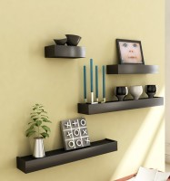 Home Sparkle Set of 4 MDF Wall Shelf(Number of Shelves - 4, Black)